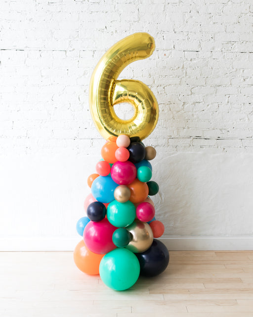 Party Animal Theme - Customizable Number Balloon Column - 4FT