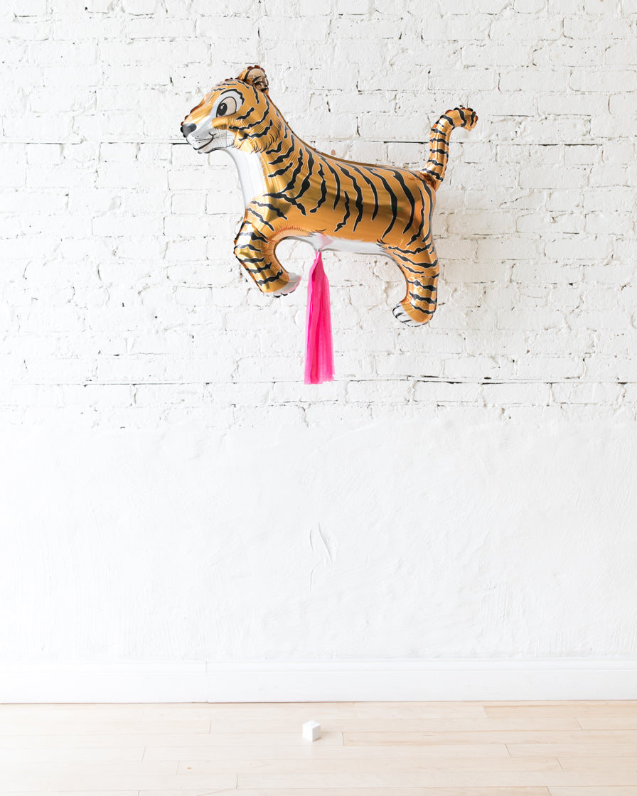 41in Tiger Foil Balloon and Bright Pink Skirt