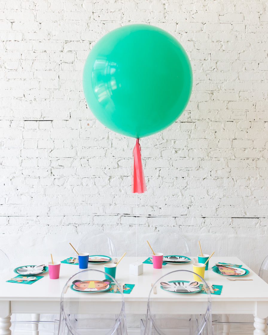 Mint Giant Balloon with Coral Skirt Centerpiece