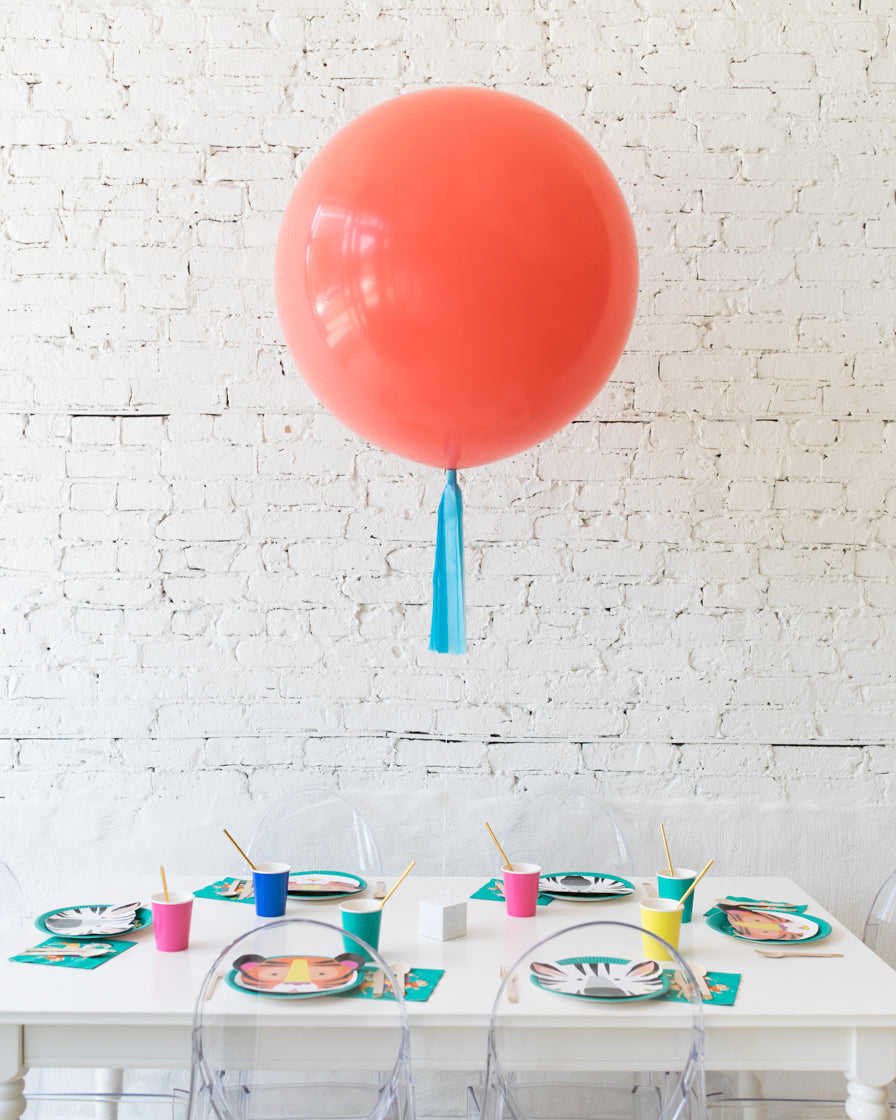 Coral Giant Balloon with Blue Skirt Centerpiece