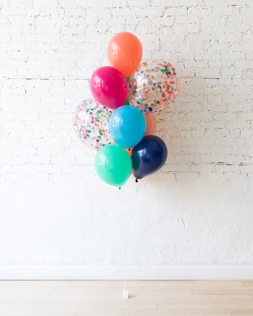 Party Animal Theme - Confetti and 11in Balloons - bouquet of 10