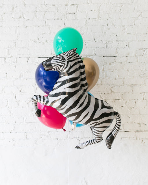 Party Animal Theme - Zebra Foil and 11in Balloons - bouquet of 7