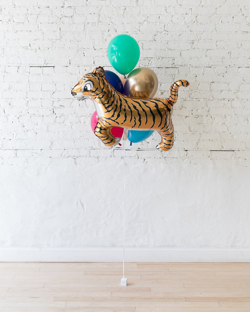 Party Animal Theme - Tiger Foil and 11in Balloons - bouquet of 7