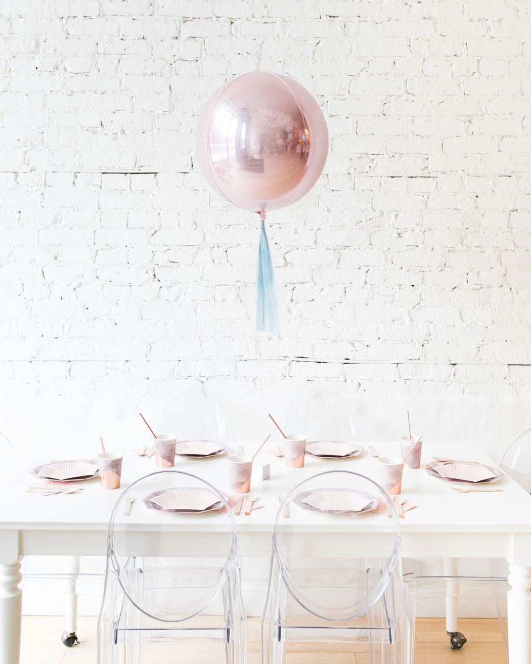 16in Pastel Pink Orb Foil Balloon with French Blue Skirt Centerpiece
