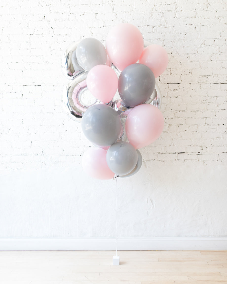 Pink Chic - Foil Number and latex Balloons - 13 balloons
