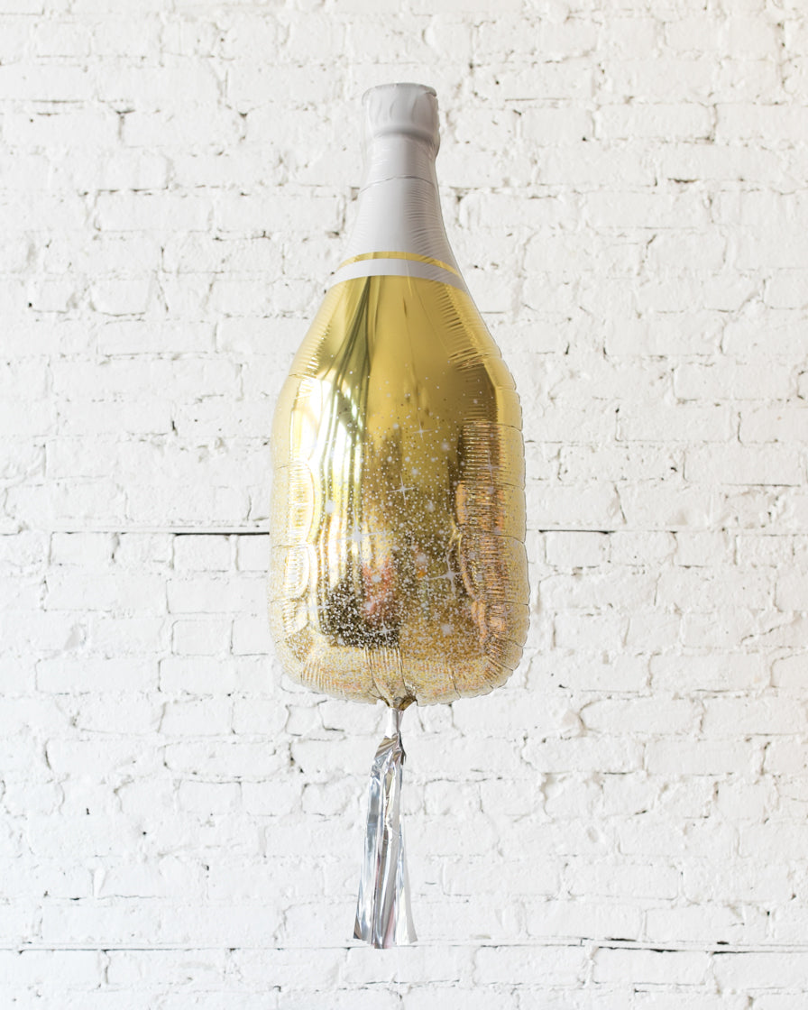 36in Gold Champagne Bottle Foil Balloon with Silver Skirt
