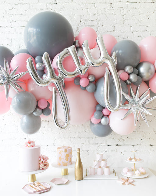 Pink Chic - Yay Script Backdrop Balloon Garland Install Piece - 6ft