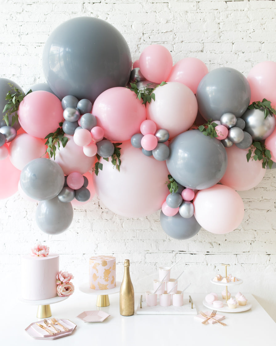 Pink Chic - Backdrop Balloon Garland Install Piece with Greenery - 6ft