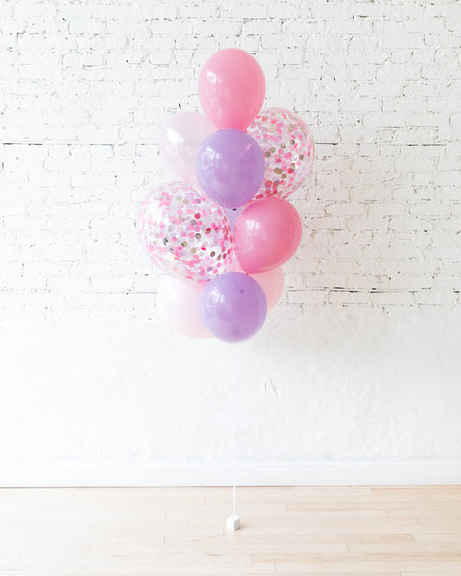 Princess Theme Confetti and 11in Balloons - bouquet of 10