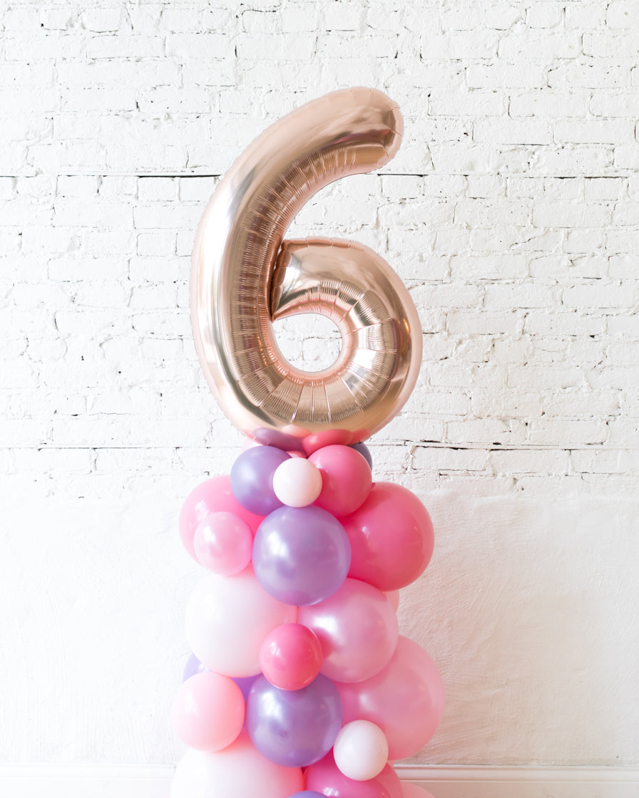 Customized Princess Theme Number Balloon Column - small