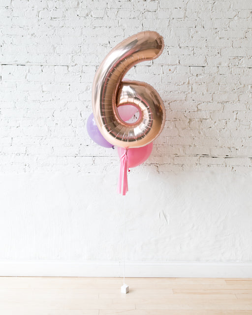 Custom Princess Theme Foil Number and latex Balloons - bouquet of 4