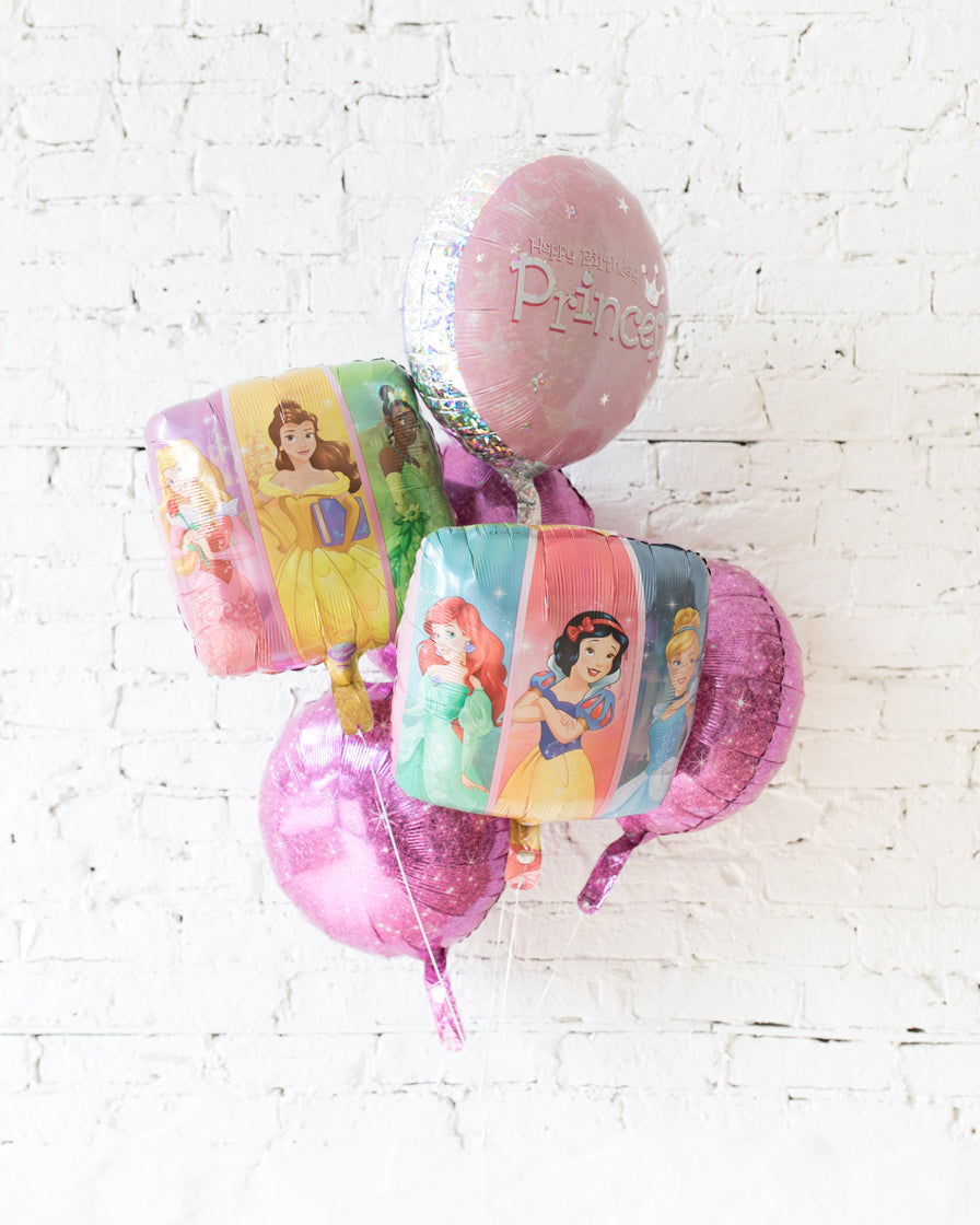 GIFT-Princess Theme Foil Balloons - bouquet of 6
