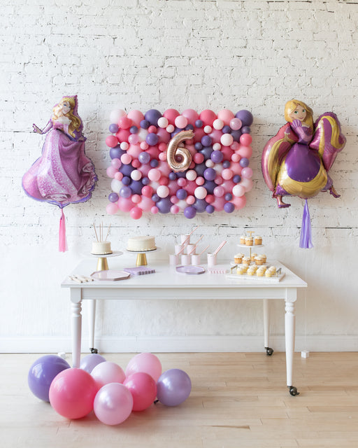 Princess Theme Balloon Board, Rapunzel & Sleeping Beauty Foil Balloons Set