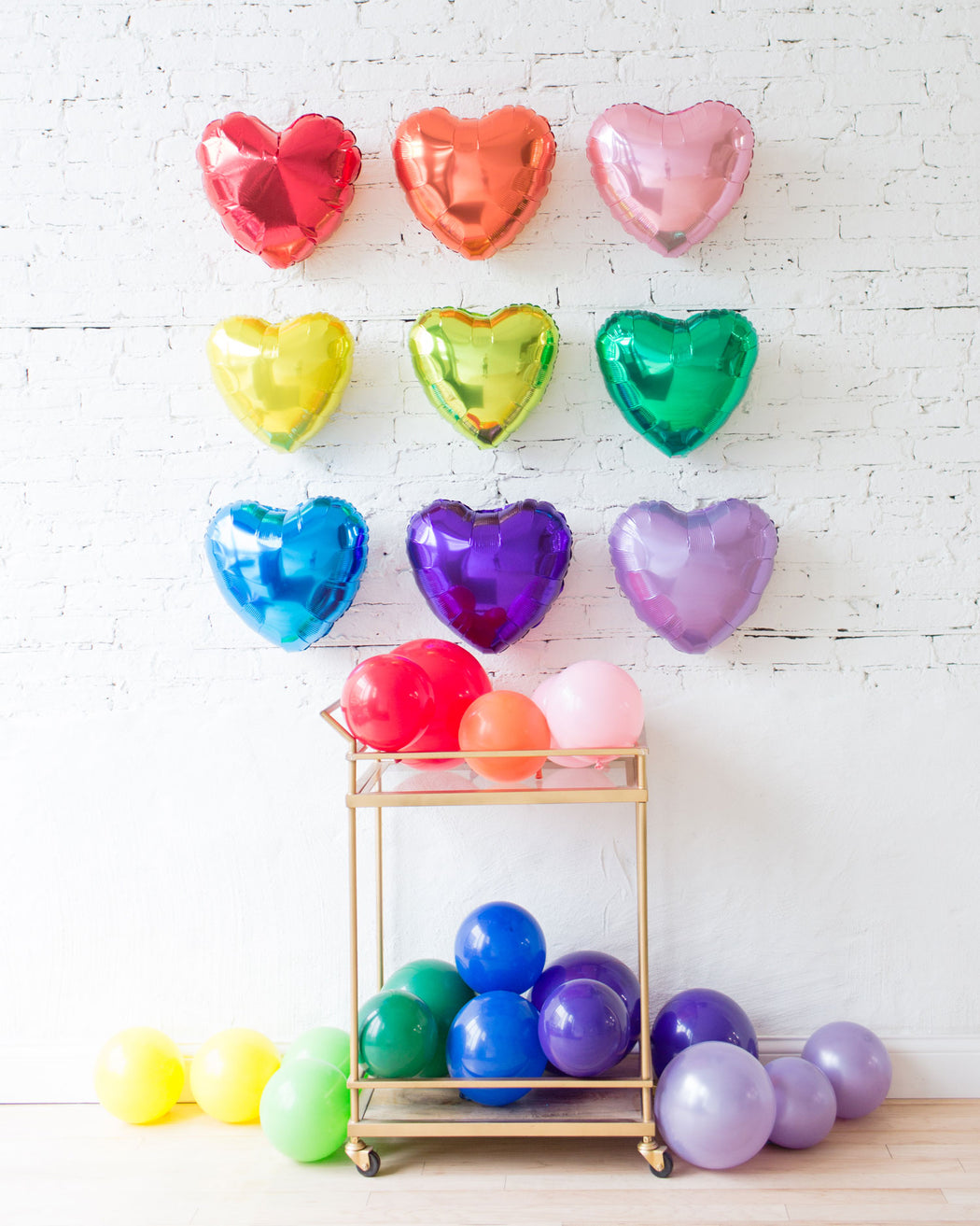 Rainbow Palette Foil Hearts Backdrop and Floor Balloon Set