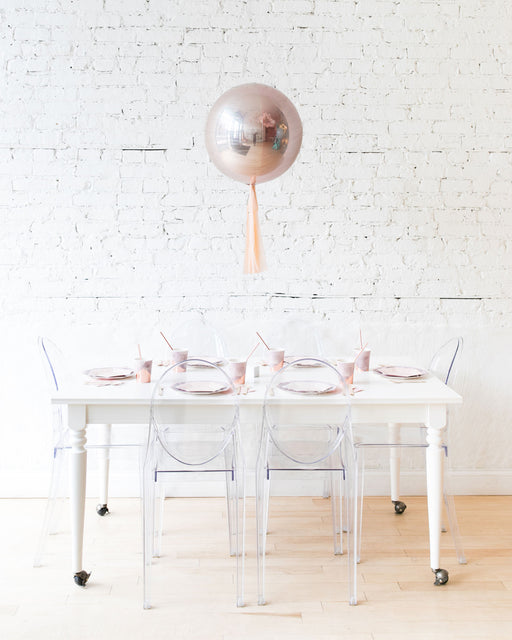 16in Rose Gold Orb Foil Balloon and Blush Skirt Centerpiece