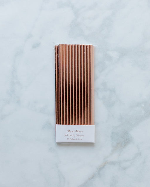 Meri Meri Rose Gold Foil Straws - pack of 24