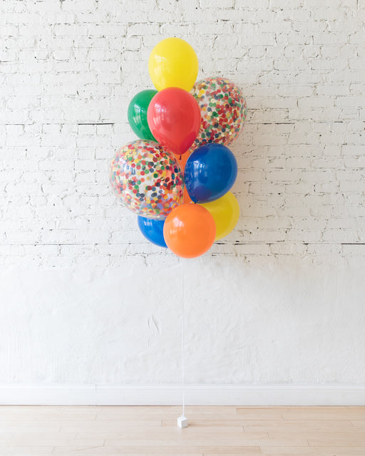 Sesame Street Theme - Confetti and 11in Balloons - bouquet of 10