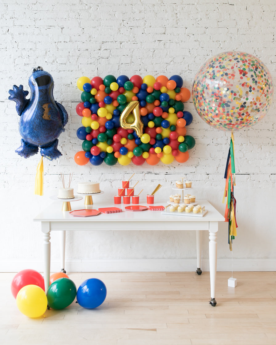 Sesame Street Theme - Balloon Board, Confetti Giant & Cookie Monster Foil Set