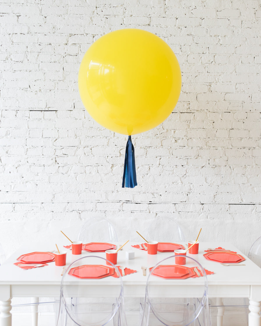 Yellow Giant Balloon and Navy Skirt Centerpiece