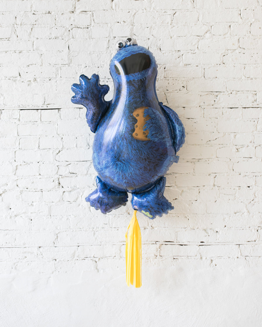 37in Cookie Monster Foil Balloon with Yellow Skirt