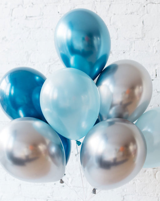 GIFT-Blues & Silver 11in balloons - bouquet of 10