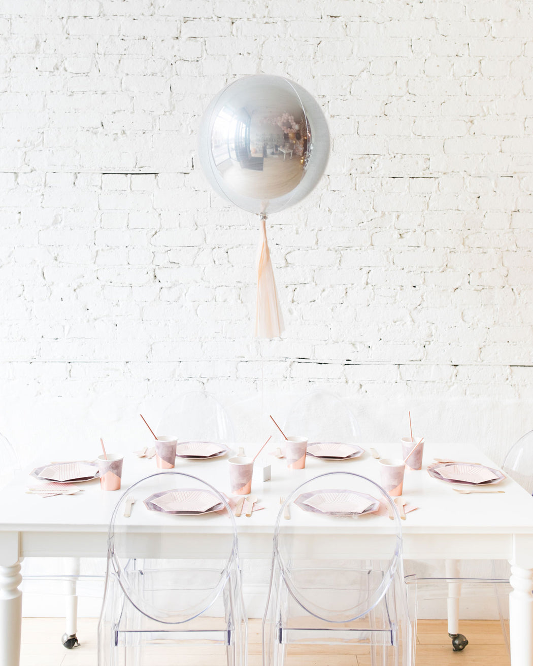 16in Silver Orb Foil Balloon and Blush Skirt Centerpiece