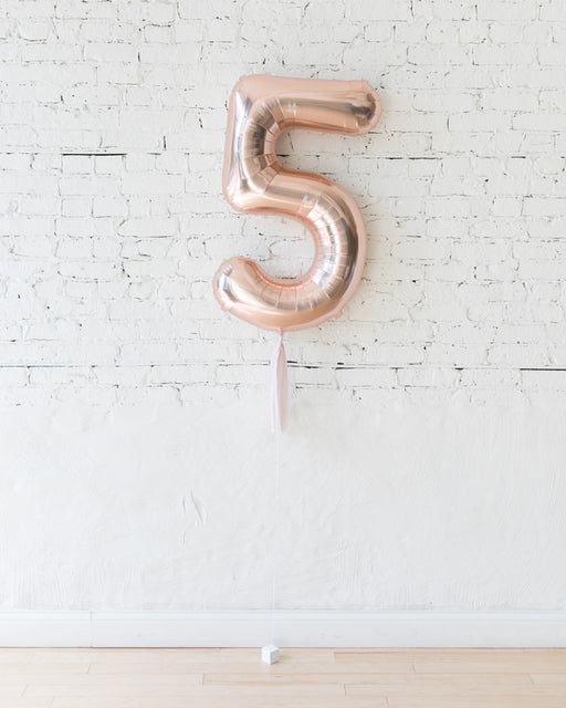 34in Rose Gold Foil Number with Mauve Skirt