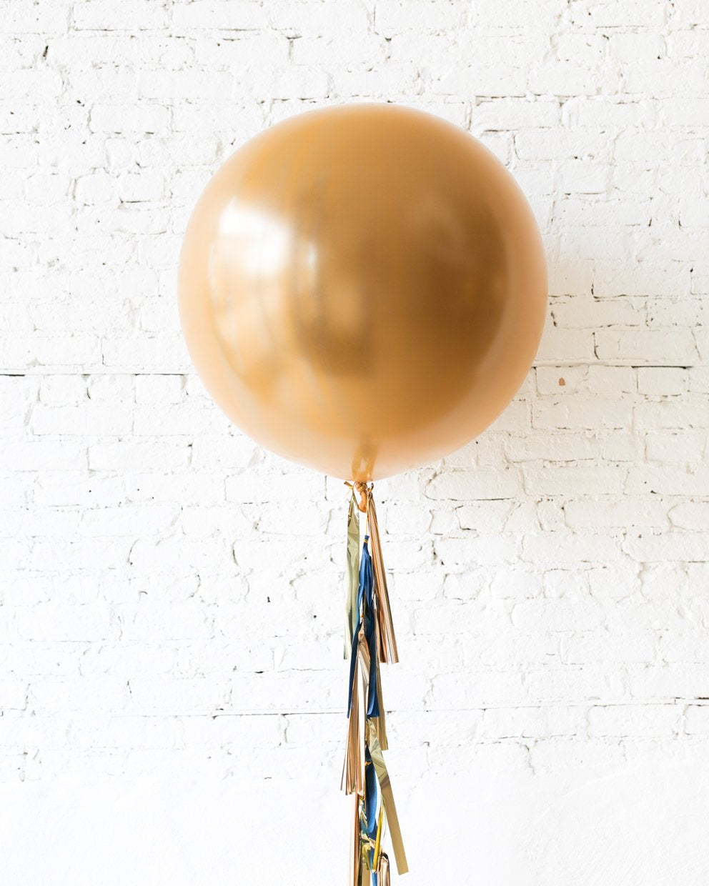 Brass Gold Giant Balloon and Gold, Navy and Copper Tassel