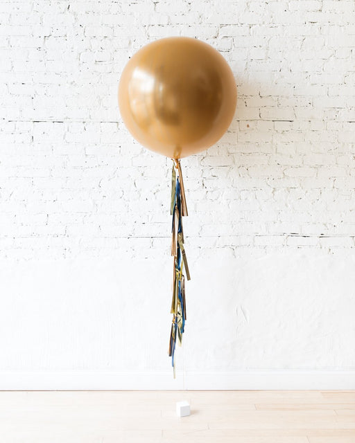 GIFT-Brass Gold Giant Balloon and Gold, Navy & Copper Tassel