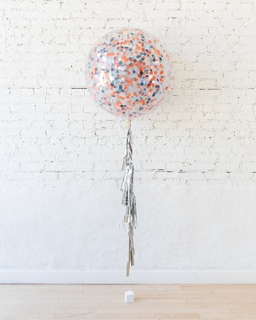 Space Theme Confetti Giant Balloon and Silver Tassel