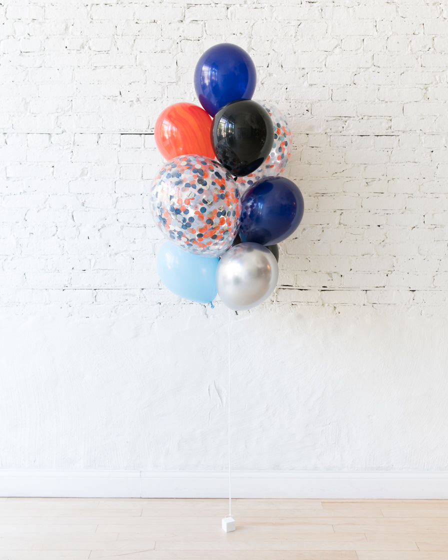 Space Theme Confetti and 11in Balloons - bouquet of 10