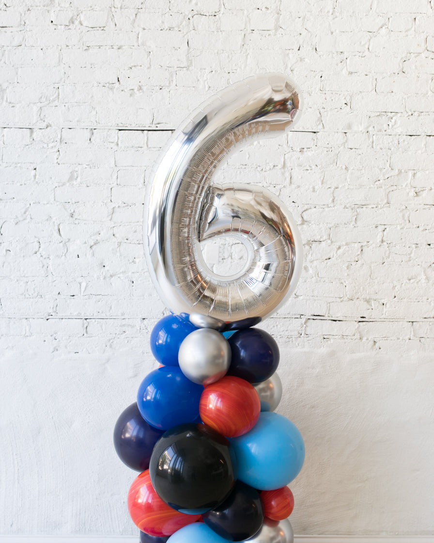 Customized Space Theme Number Balloon Column - small
