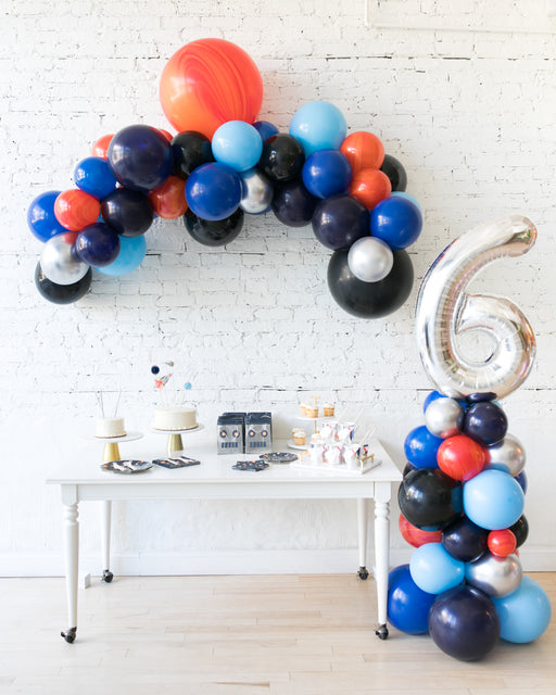Space Theme Floating Arch & Number Column Set