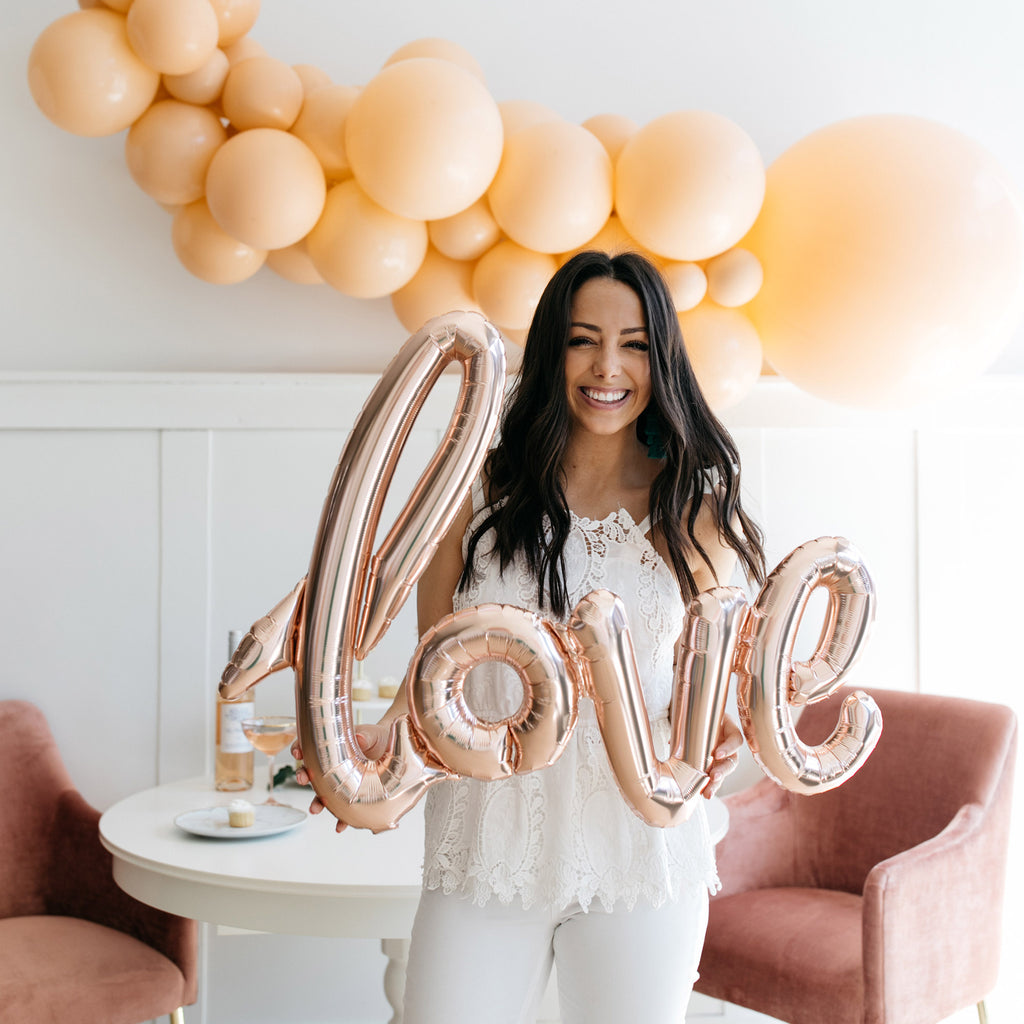 Love Rose Gold Script Balloon