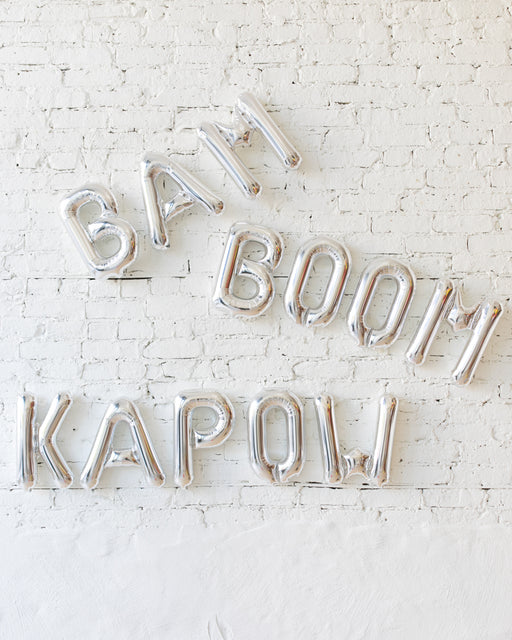16in Silver BAM BOOM KAPOW Foil Letters Set