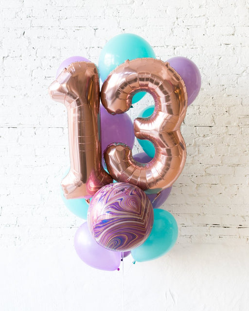 GIFT-Mermaid Palette Foil Number and Latex Balloon Bouquet