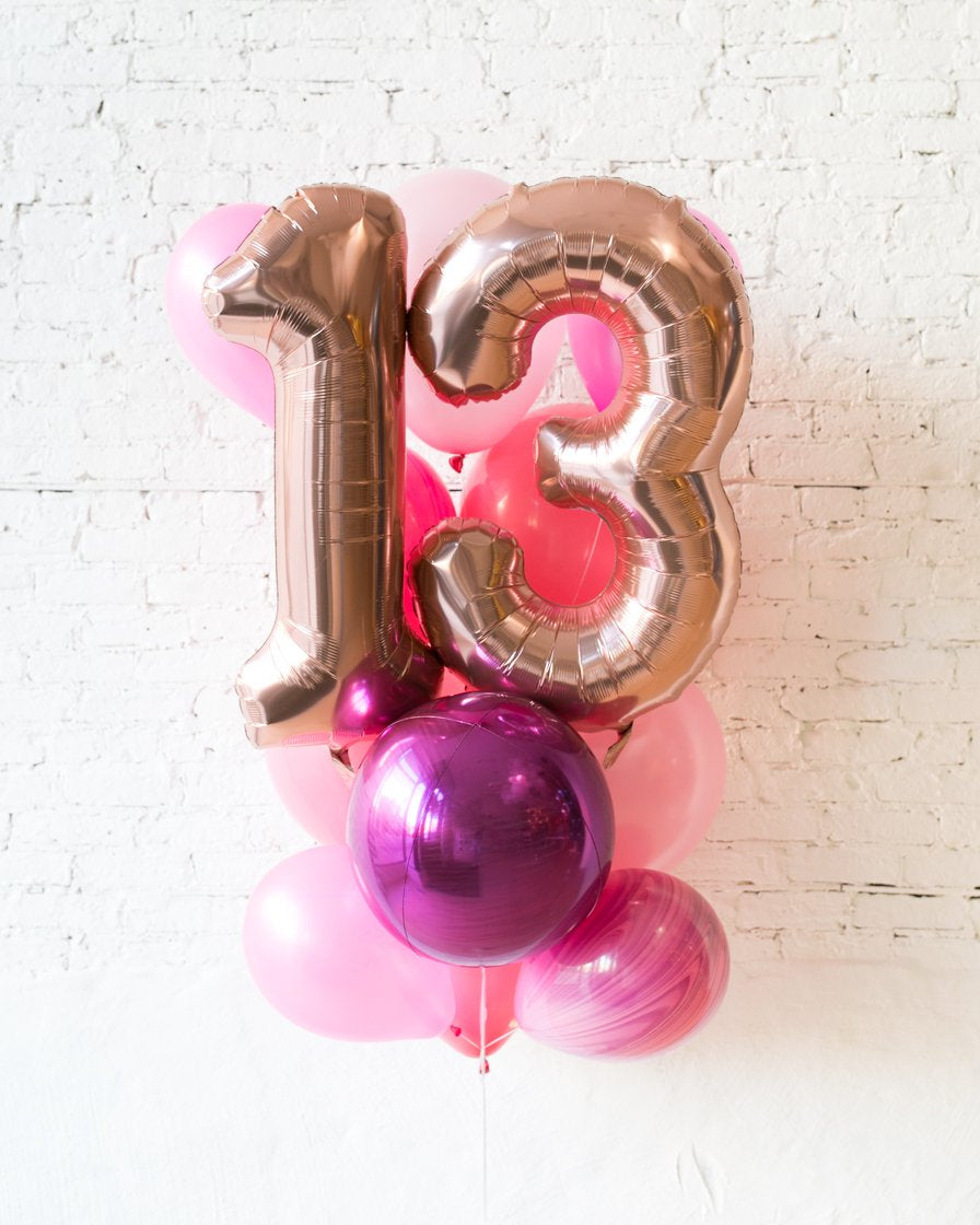 GIFT-Pretty in Pink Palette Foil Number and Latex Balloon Bouquet