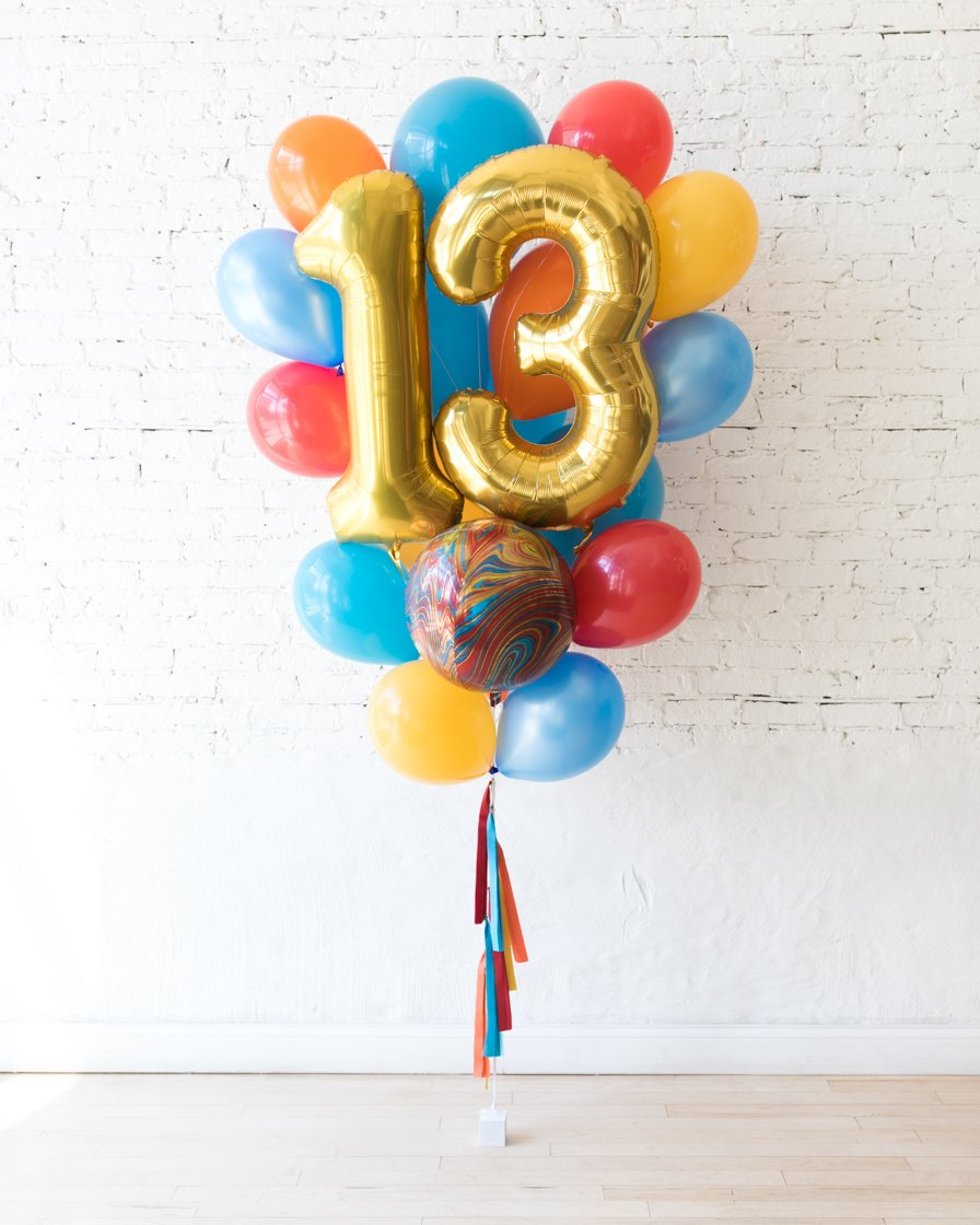 GIFT-Marble Palette - Double-Digit Foil and Latex Balloon Bouquet