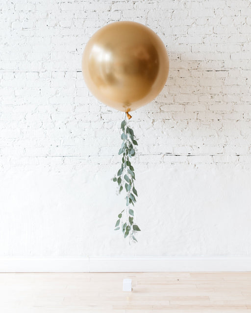Brass Gold Giant Balloon and Eucalyptus Tassel