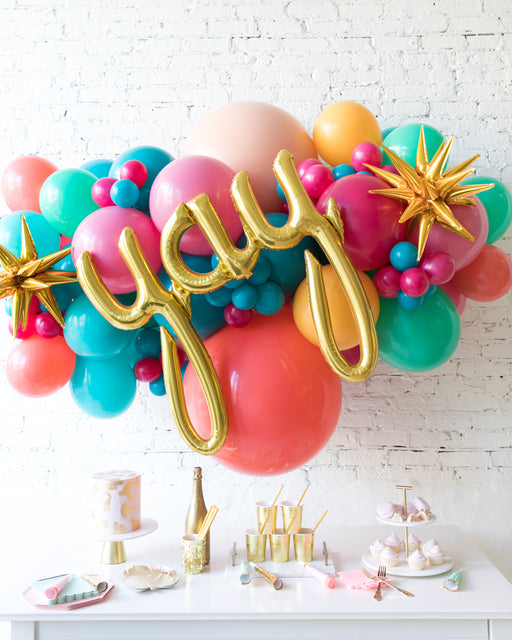 Tropical Time - Yay Script Backdrop Balloon Garland Install Piece - 6ft