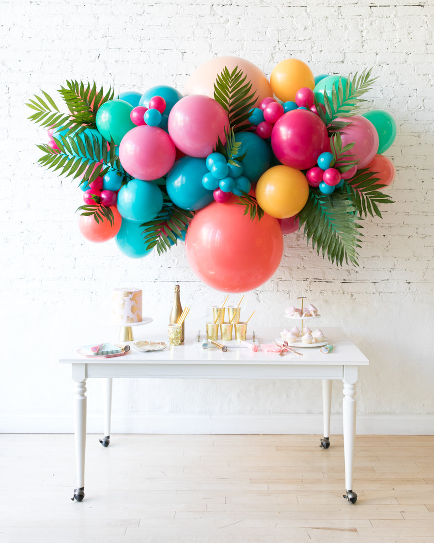 Tropical Time - Backdrop Balloon Garland Install Piece with Greenery - 6ft