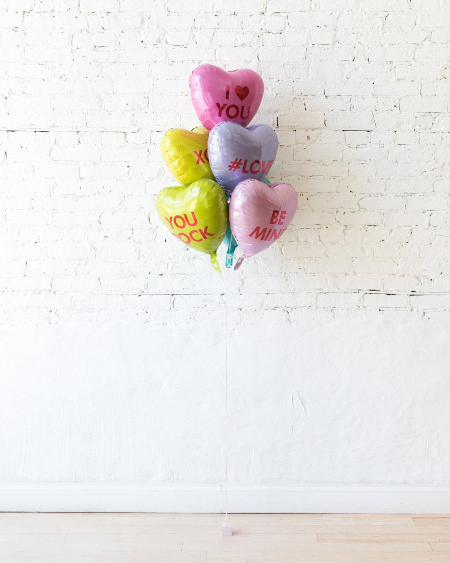 Candy Hearts Foil Balloons - bouquet of 6