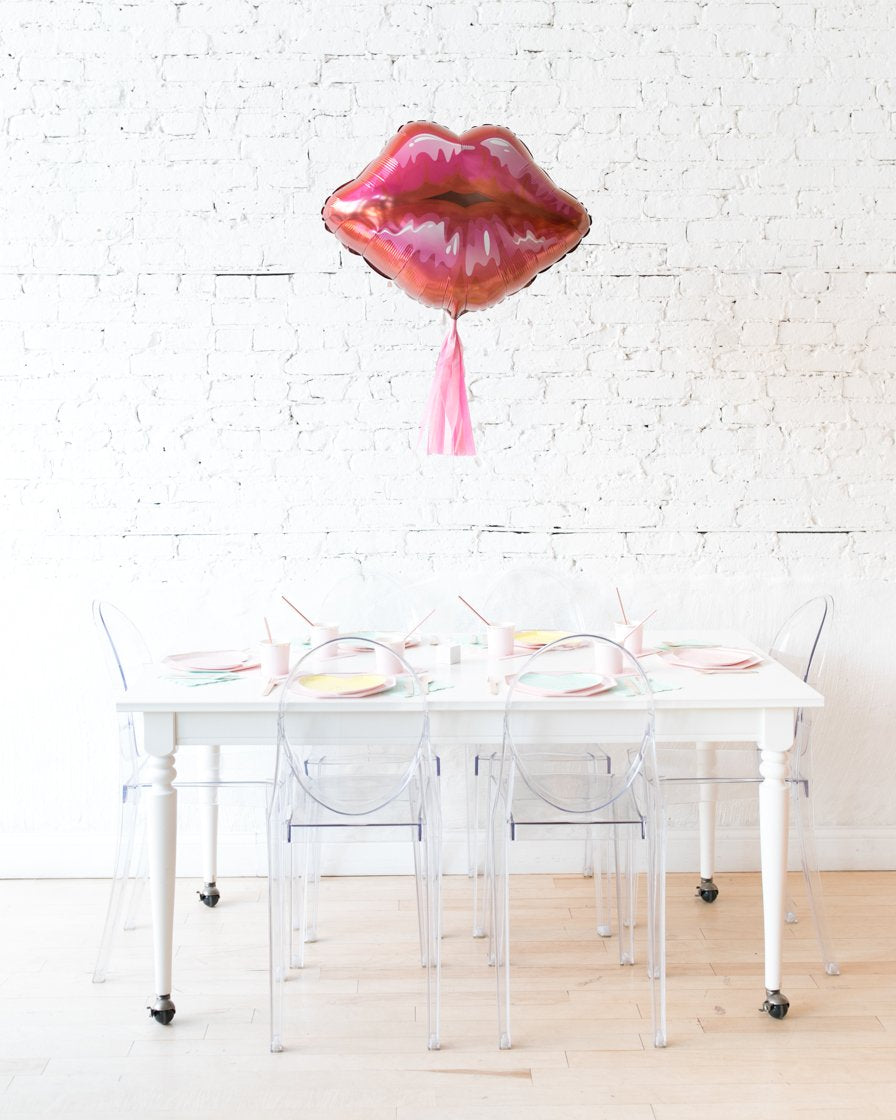 30in Red Lips Foil Balloon and Bubblegum Pink Skirt Centerpiece