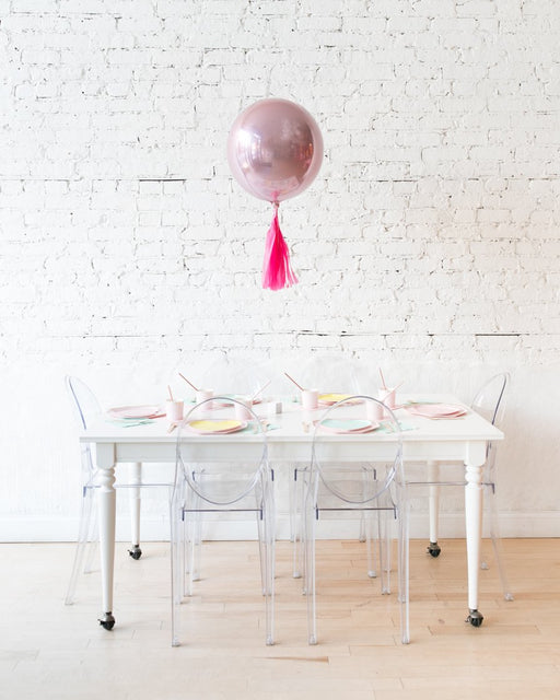16in Pastel Pink Orb Foil Balloon and Fuchsia Skirt Centerpiece