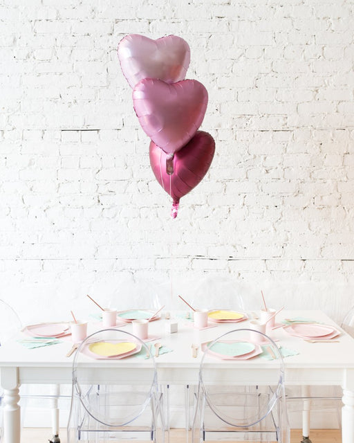 Shades of Pink Palette Foil Hearts Balloons Centerpiece- bouquet of 3