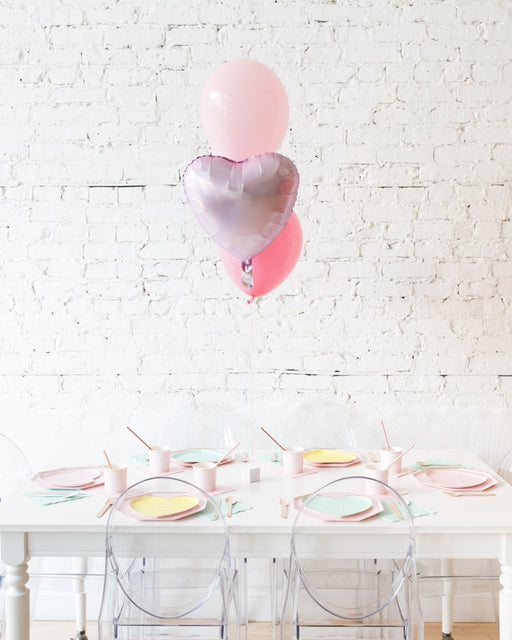 Shades of Pink Palette Foil Heart and 11in Balloons Centerpiece - bouquet of 3