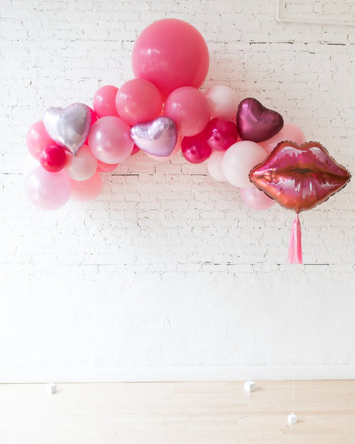Shades of Pink Palette Floating Arch and Lip Foil Balloon Set