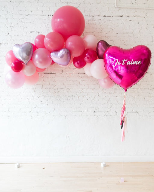 Shades of Pink Palette Floating Arch and Giant Je T'aime Heart Foil Balloon Set