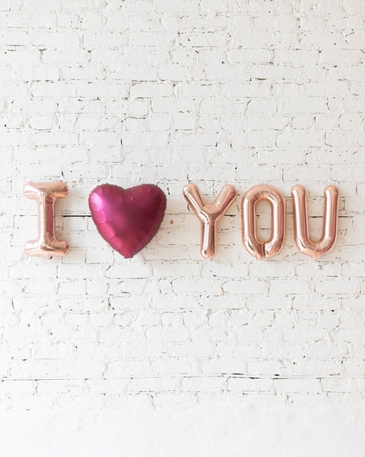 16in Rose Gold I Heart You Foil Balloons Set