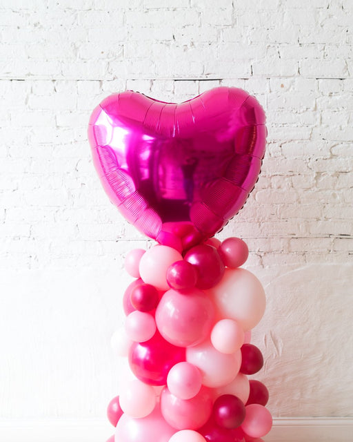 Shades of Pink Palette and Magenta Heart Balloon Column - small